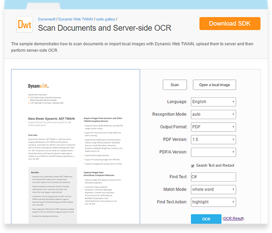 Dynamsoft OCR Professional Module is a fast and robust optical character recognition (OCR) library for your web application.