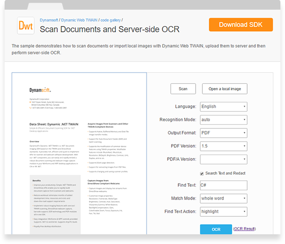 Dynamsoft OCR Professional Module Is A Fast And Robust Optical Character Recognition Library