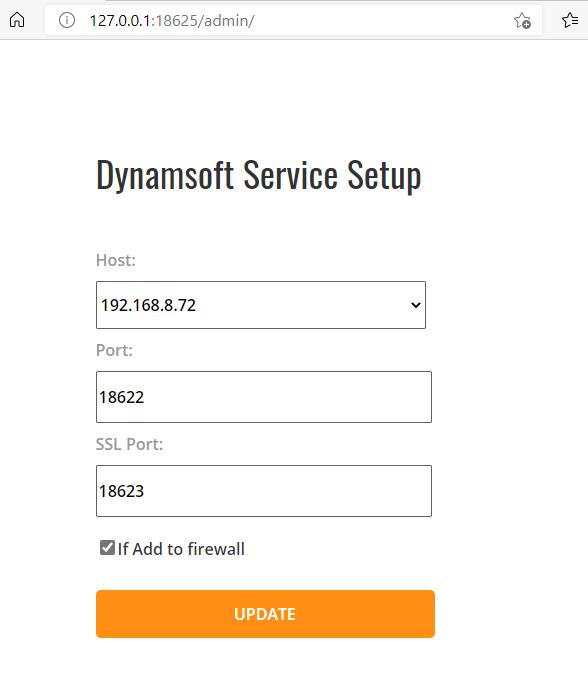 Dynamsoft service configuration