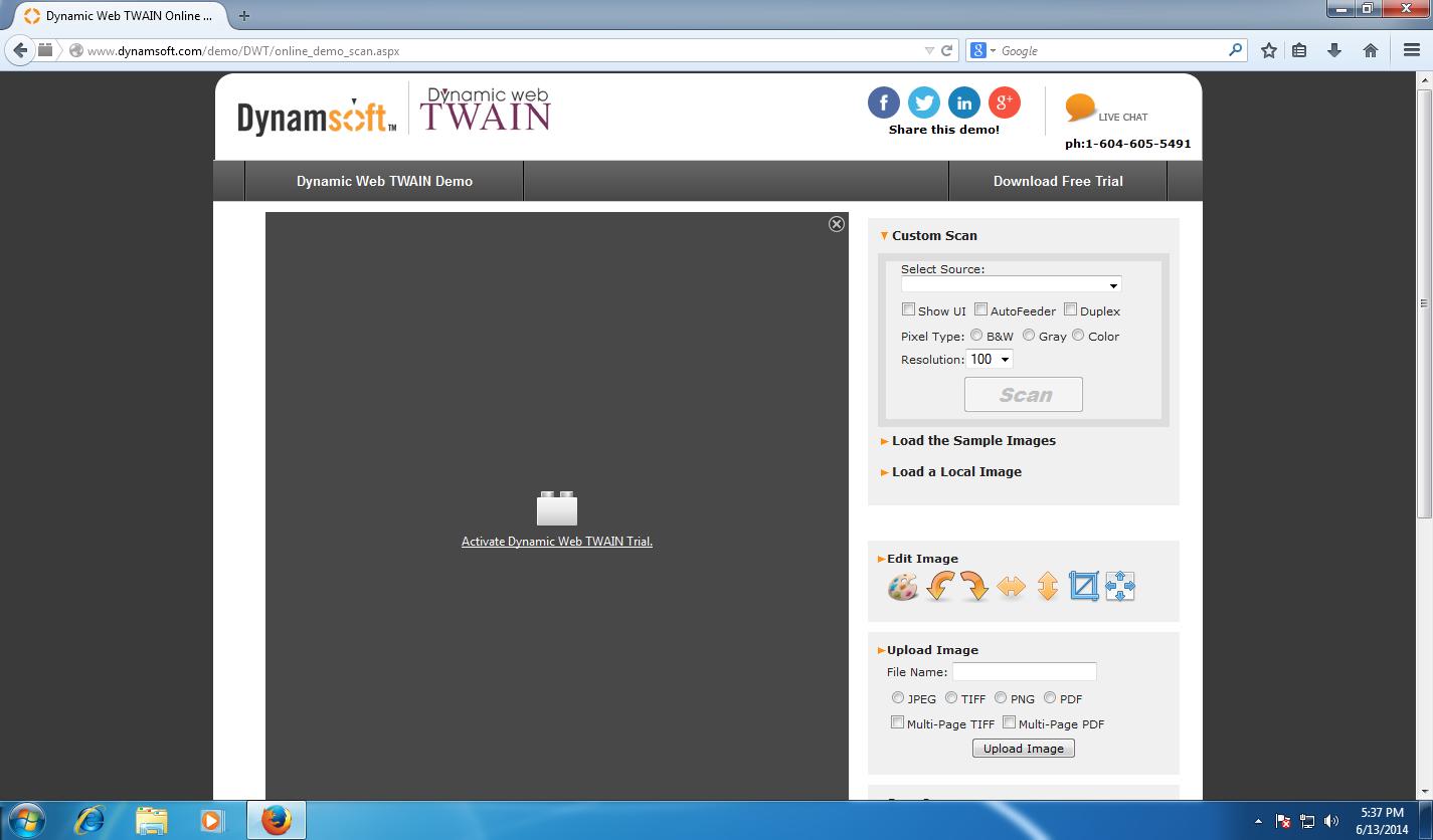 Activate Dynamic Web TWAIN plugin