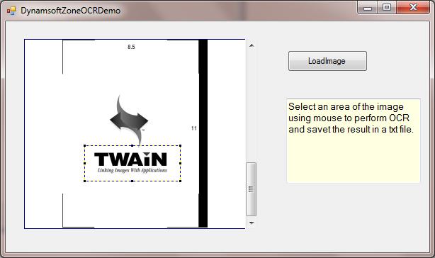 Demo App of Zone OCR using Dynamic .NET TWAIN OCR SDK