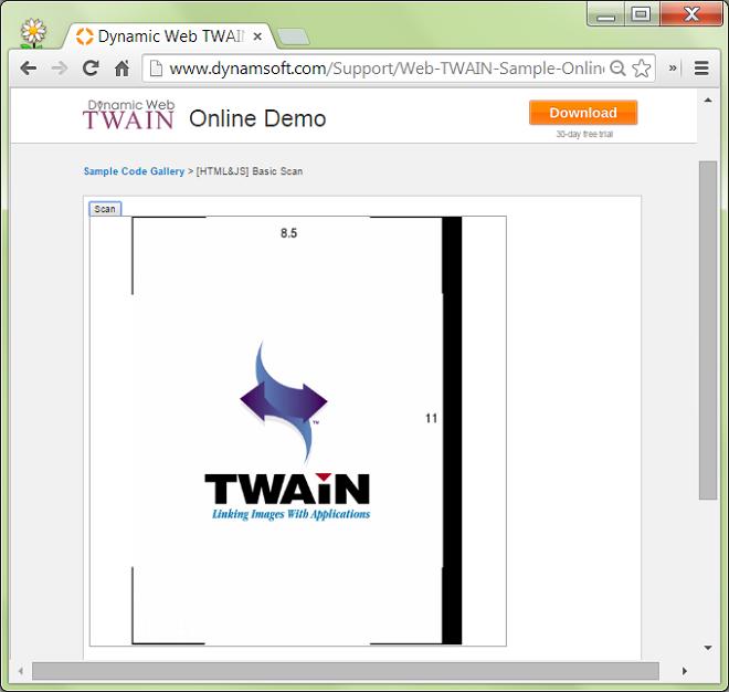 Online Scan Demo of Dynamic Web TWAIN