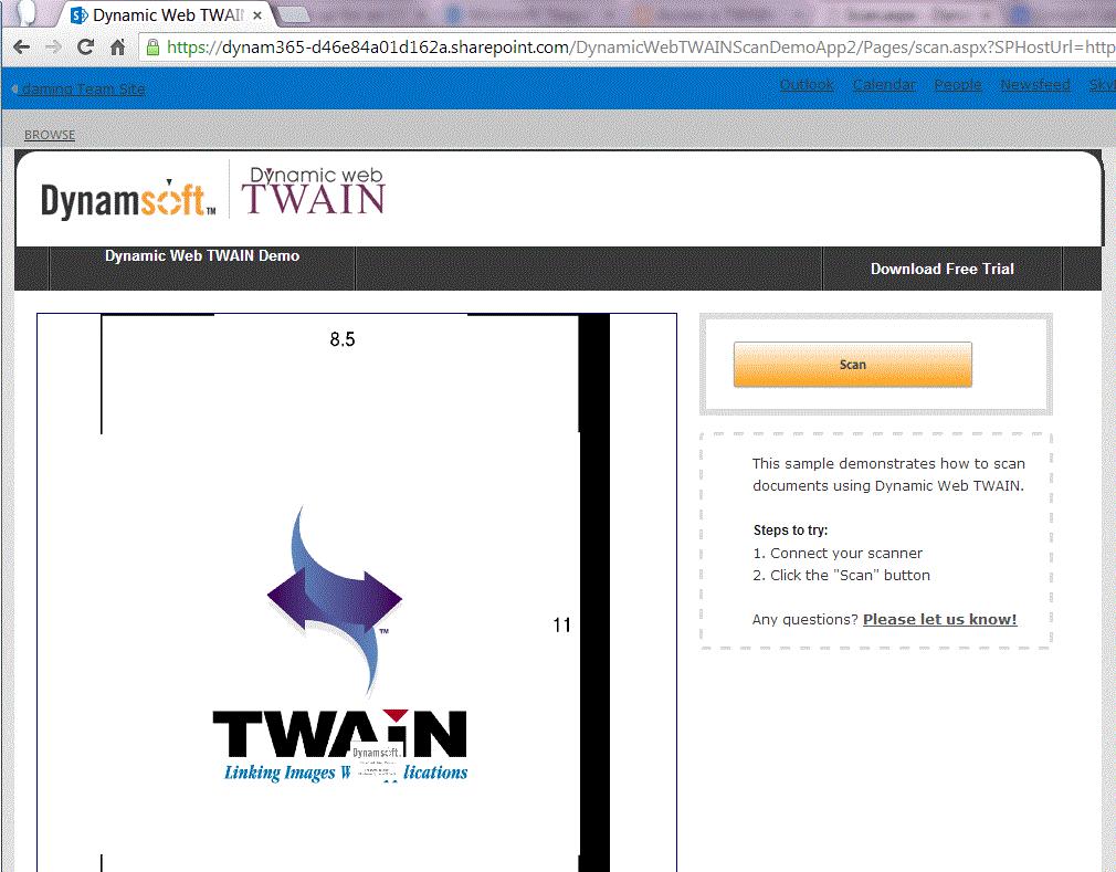 Office365 Dynamic Web TWAIN Scan Demo