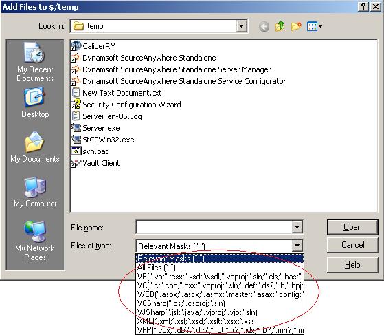 File type filter in VSS 2005