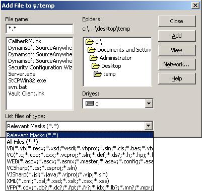 File type filter in VSS 6