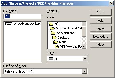 Add File screen shot in VSS 6