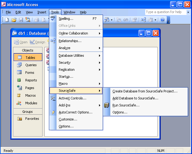 Add Access database to SourceSafe