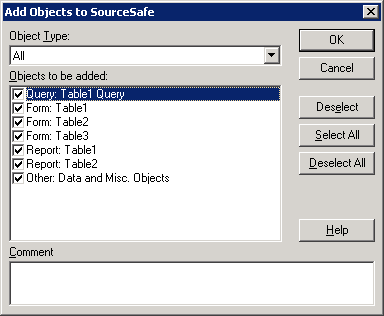 Add Access objects into SourceSafe