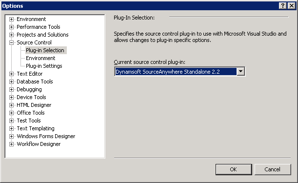 Select SourceAnywhere Standalone as the current source control plug-in