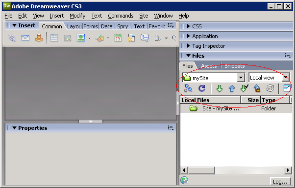 Source control panel in Dreamweaver