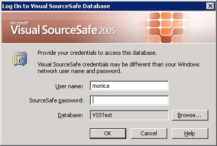 Log on to Visual SourceSafe Database