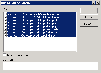 Add VC files to SourceSafe
