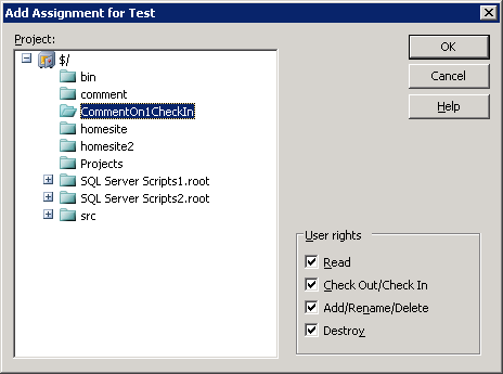 Add Assignment for <user>