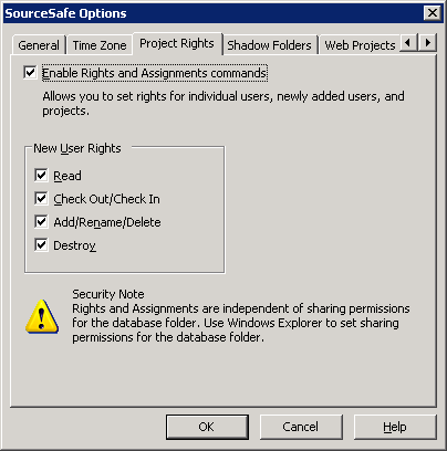 SourceSafe Options