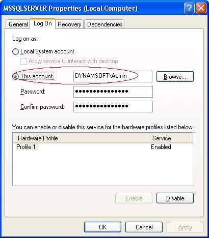 SQL Server Log On user