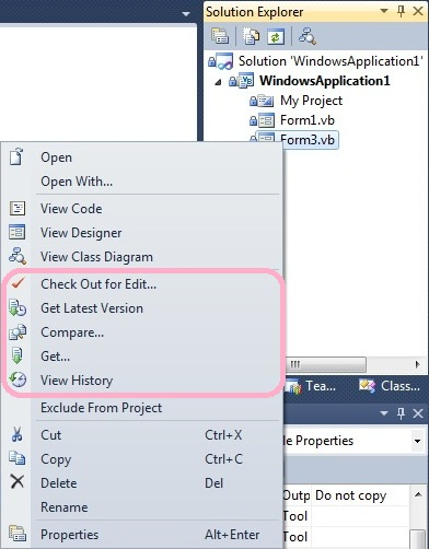 version control in Solution Explorer