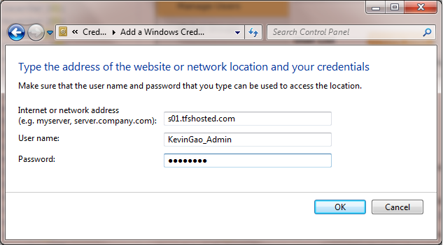 add windows credentials