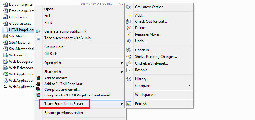 TFS Context Menu in Windows Explorer