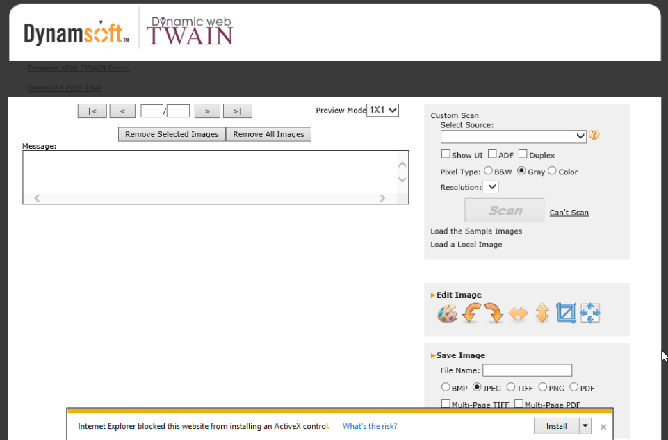 Install Dynamic Web TWAIN ActiveX control in IE 11