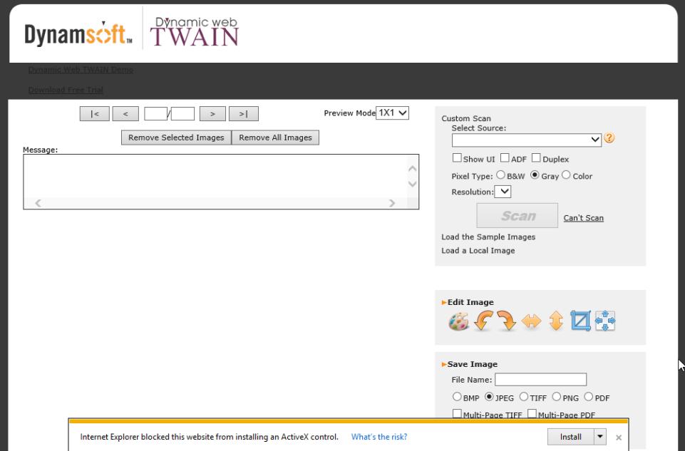 Install Dynamic Web TWAIN ActiveX control in IE 11