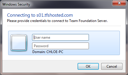 Log in dialog box for TFS