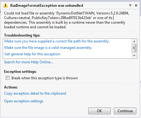 Visual Studio exception