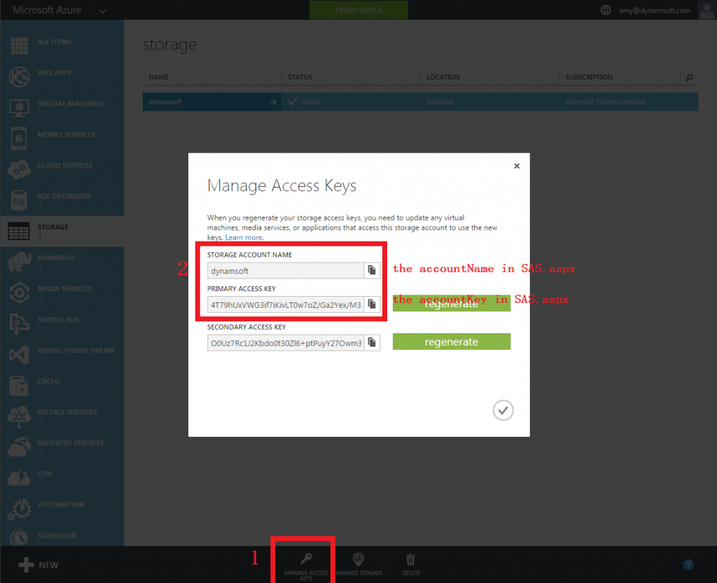 manage access key of Azure