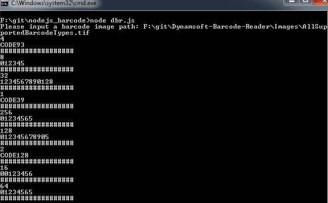 Barcode addon for Node.js