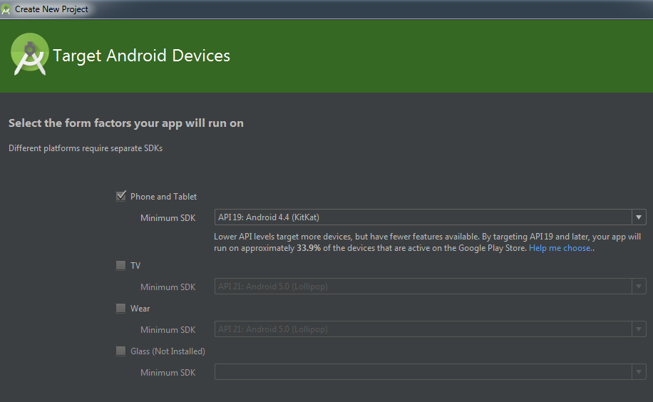 Android Studio target device