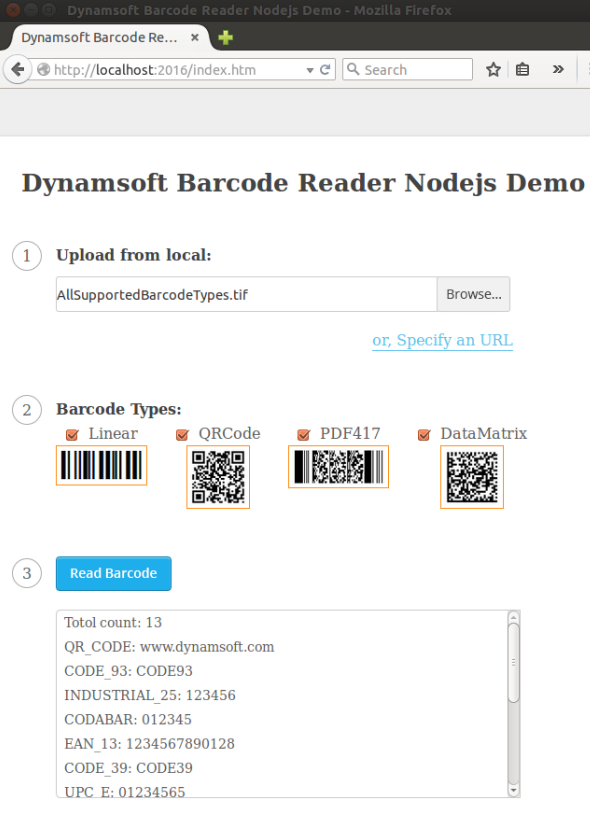 node barcode reader