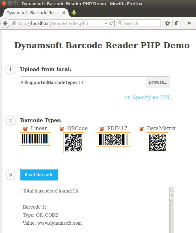 php online barcode reader