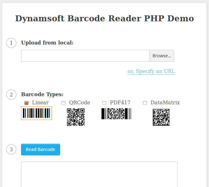 PHP Online Barcode UI
