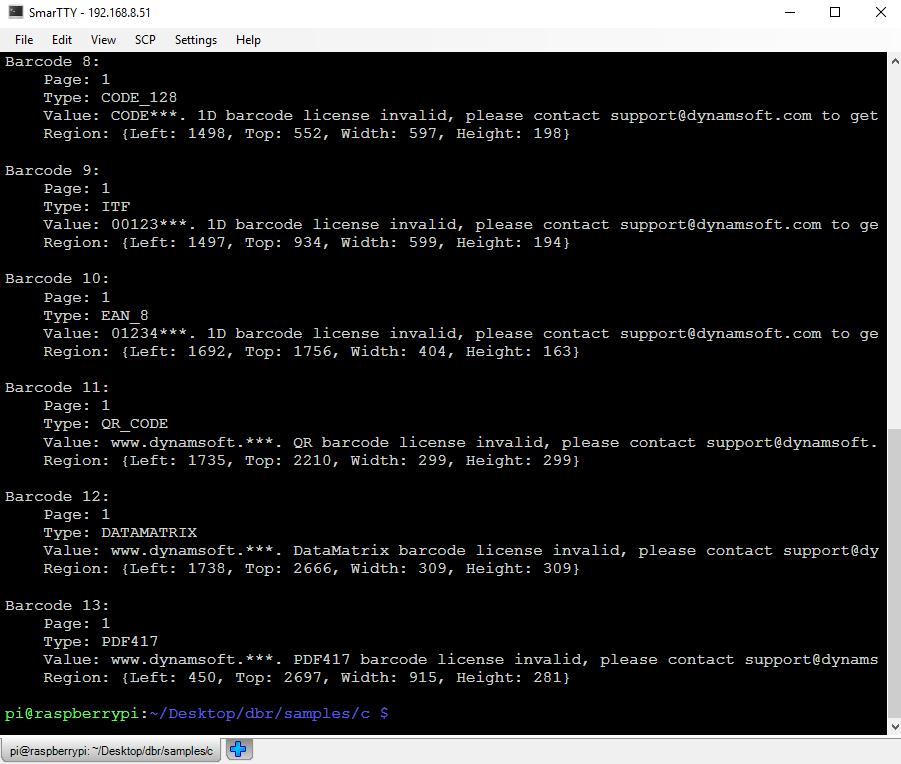 RaspberryPi barcode reader result