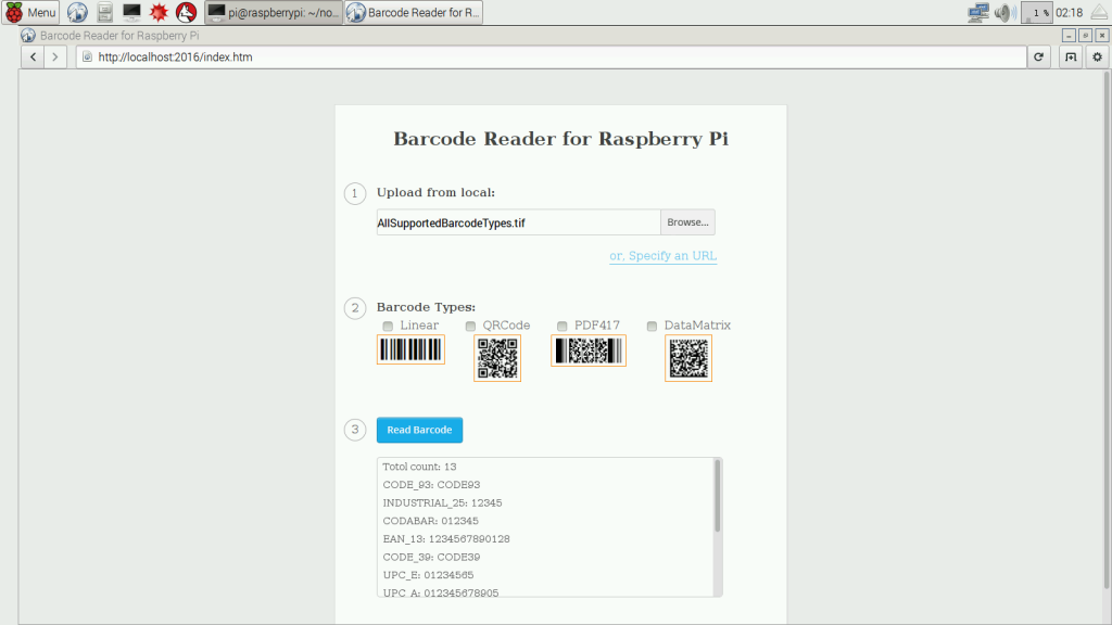 raspberry pi node.js barcode reader