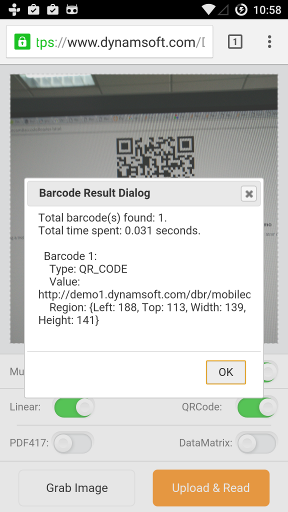 html5 mobile barcode reader result