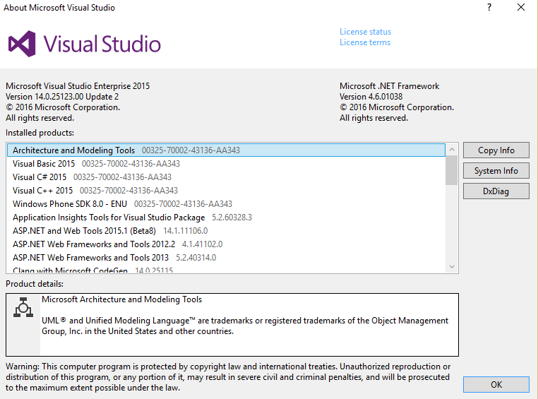 Visual Studio 2015 update 2