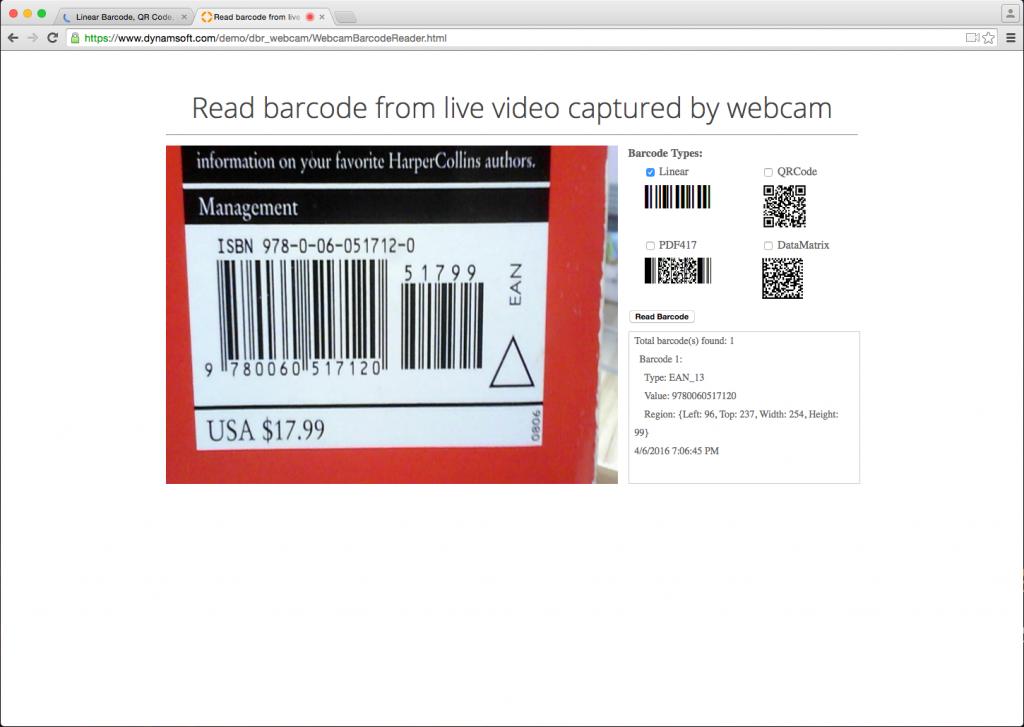 webcam barcode scanner