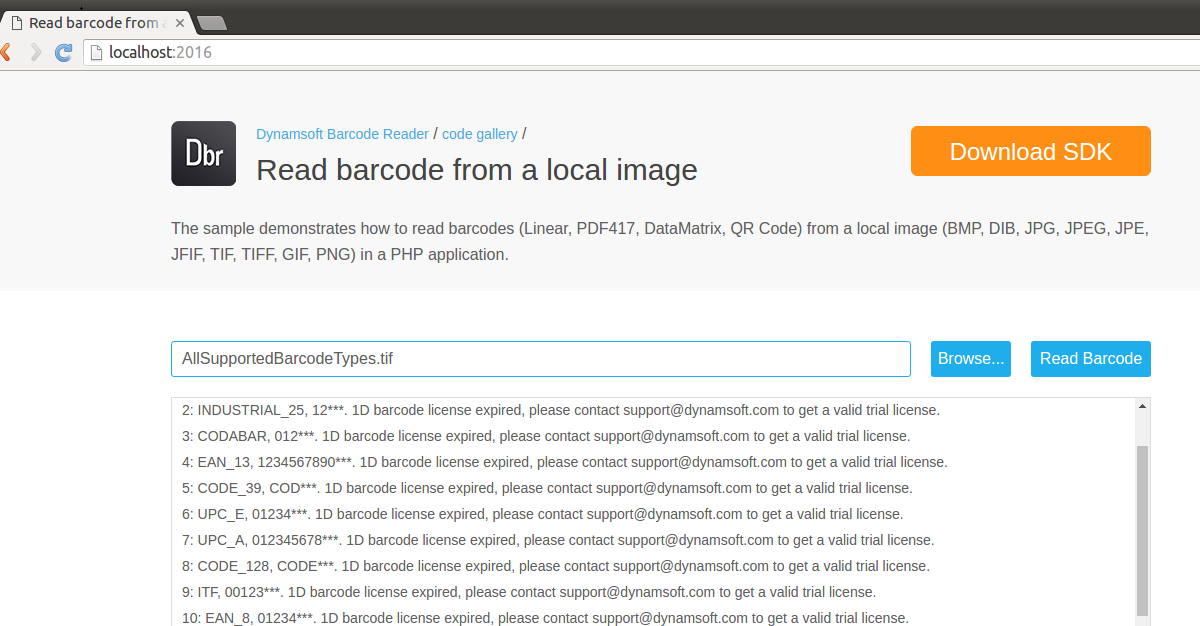 linux php barcode reader