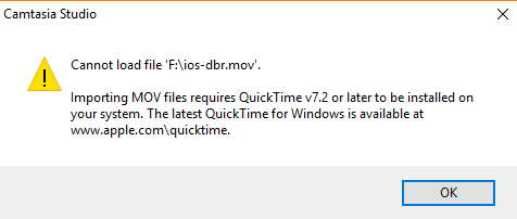 camtasia quicktime warning