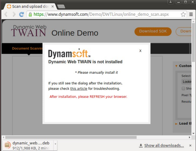 Dynamic Web TWAIN not installed