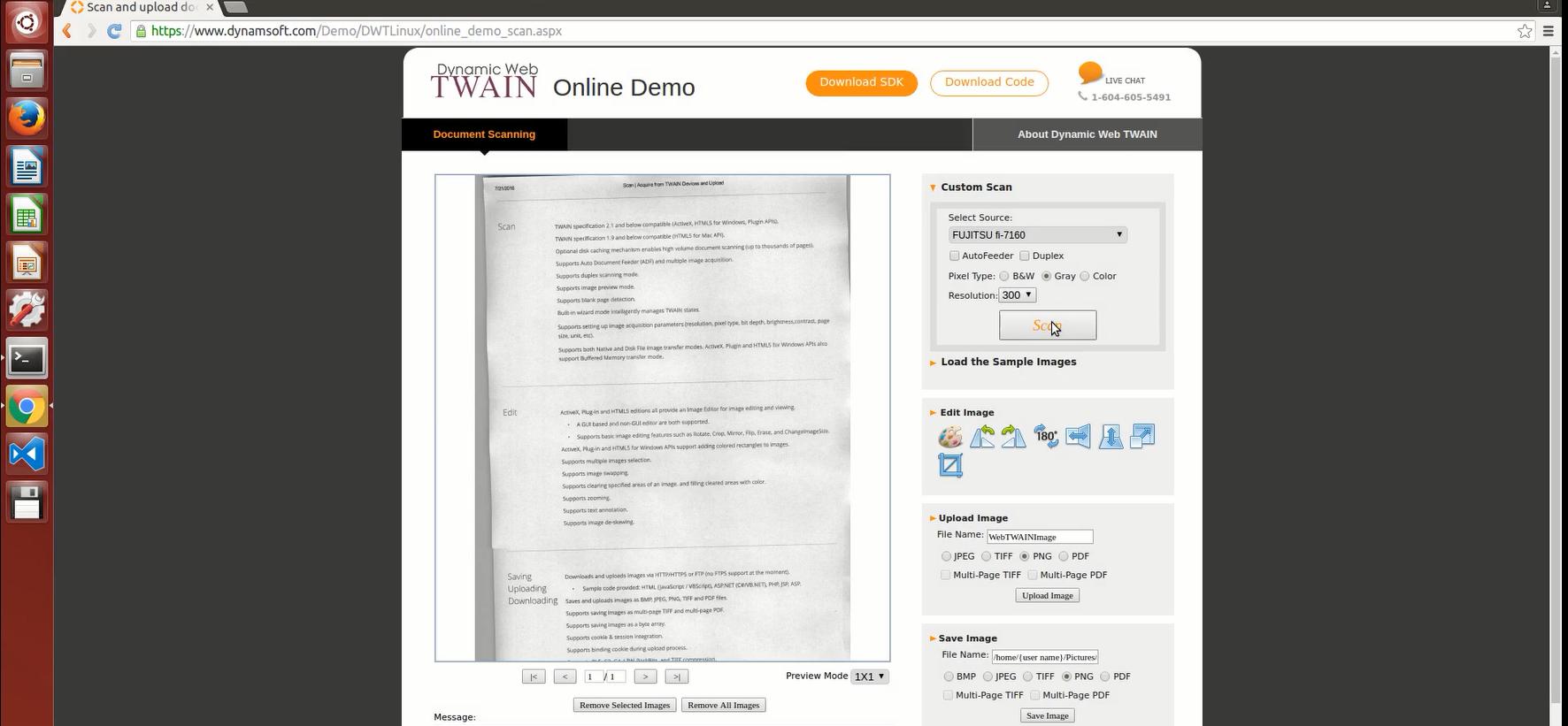 document scanning on Ubuntu