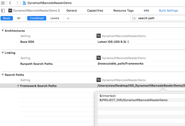 Xcode search path