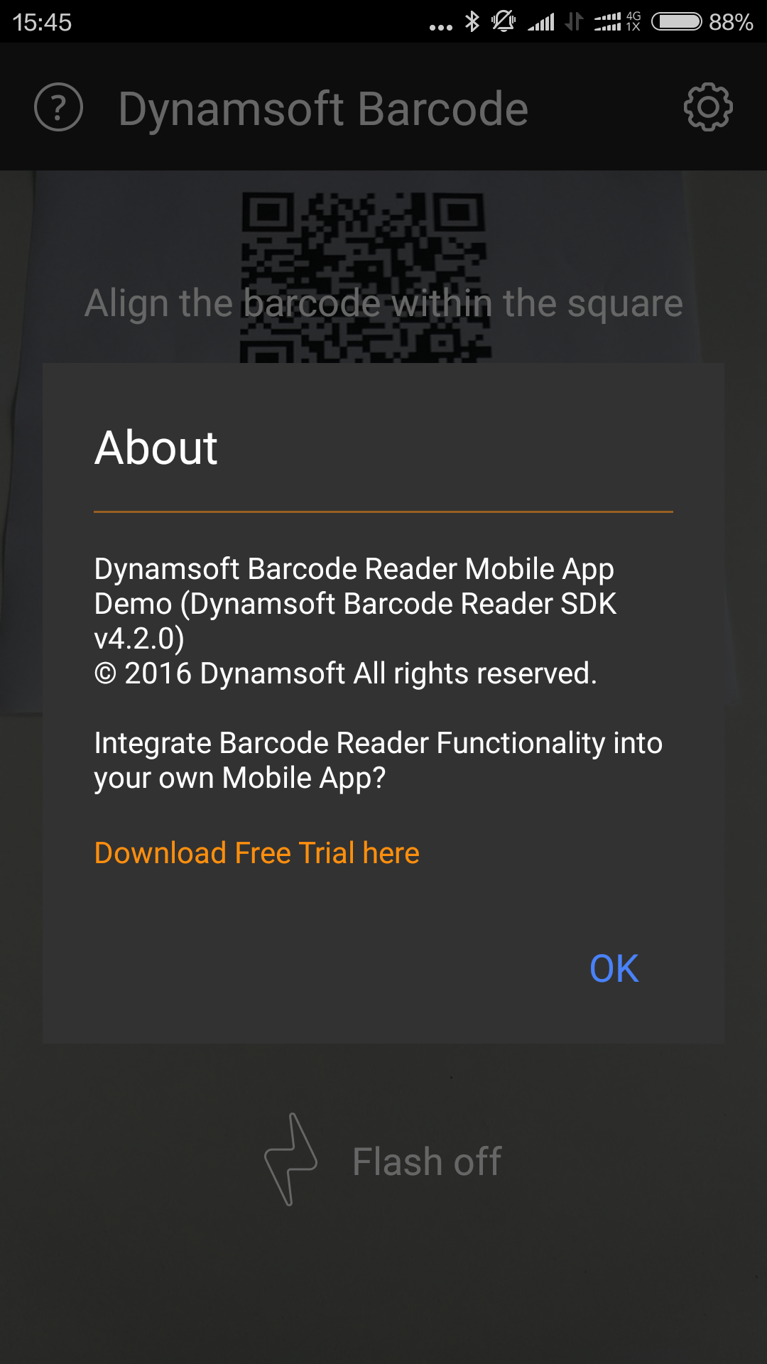 android barcode scanner about