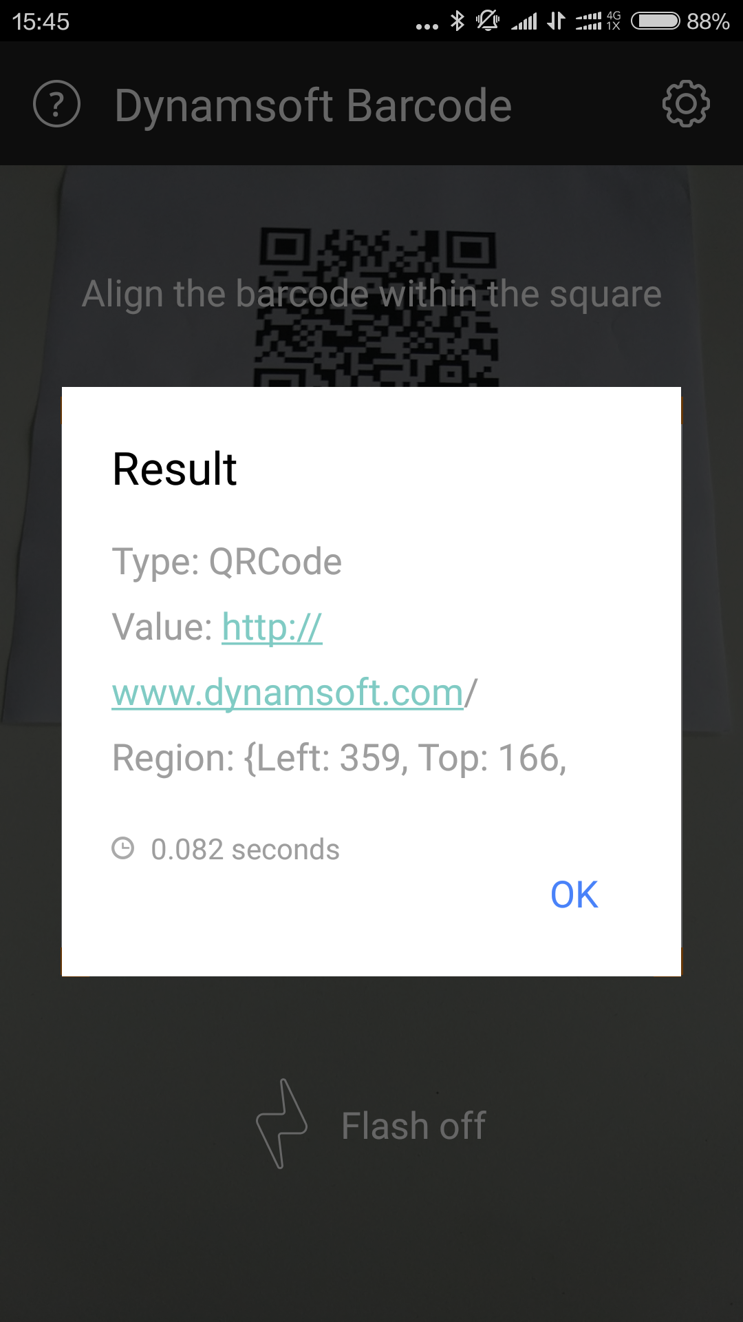 android barcode scanner result