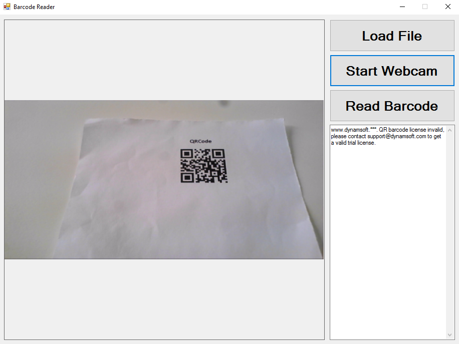 webcam barcode reader in C#