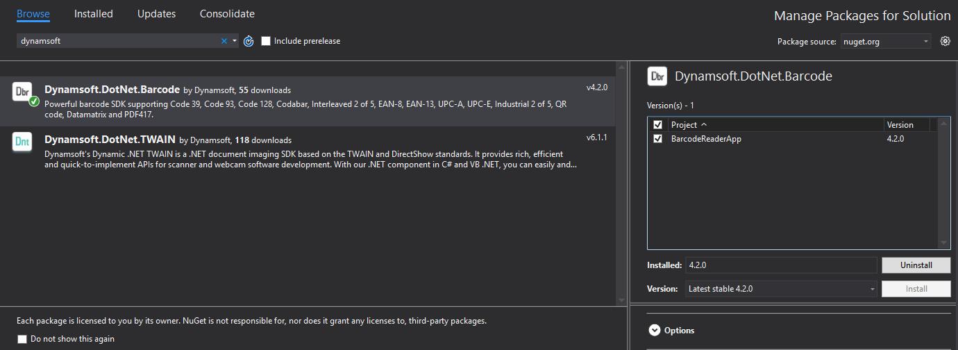 install .NET barcode SDK via nuget