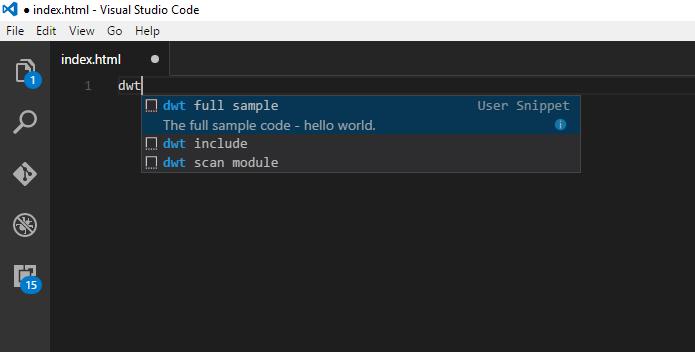 vscode code snippet