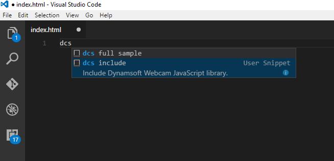 DCS code snippet for visual studio code