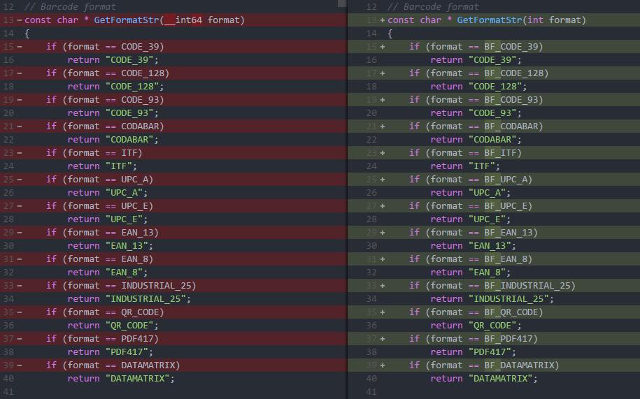 barcode sdk API change