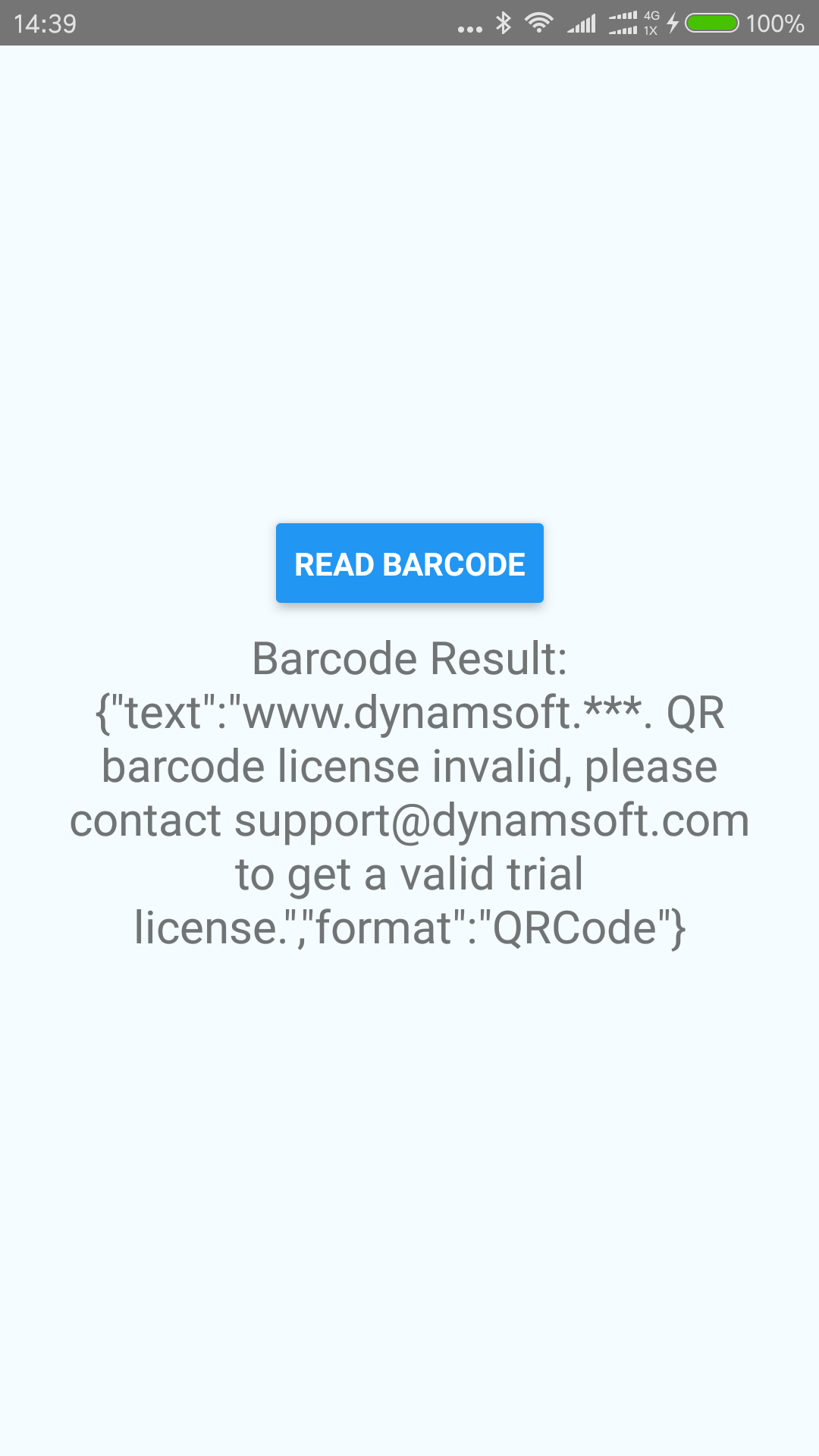 react native barcode license